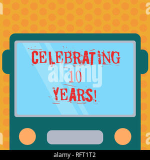 Writing note showing Celebrating 10 Years. Business photo showcasing Commemorating a special day Decennial anniversary Drawn Flat Front View of Bus wi - Stock Photo