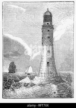 The third Eddystone Lighthouse on the dangerous Eddystone Rocks, south of Rame Head, England.  Designed  by the Royal Society, civil engineer John Smeaton modelled the shape on an oak tree, built of granite blocks. He pioneered 'hydraulic lime', a concrete that cured under water, and developed a technique of securing the granite blocks using dovetail joints and marble dowels. Construction started in 1756 and the light was first lit on 16 October 1759. In 1841 major renovations were made and it remained in use until 1877 when it was rebuilt on Plymouth Hoe, in Plymouth, as a memorial. - Stock Photo