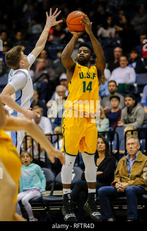 San Diego, California, USA. 26th Jan, 2019. NCAA Basketball 2019: San Francisco vs San Diego JAN 26 - San Francisco Dons guard Charles Minlend (14) at Jenny Craig Pavillon in San Diego, California. Michael Cazares/Cal Sport Media/Alamy Live News - Stock Photo