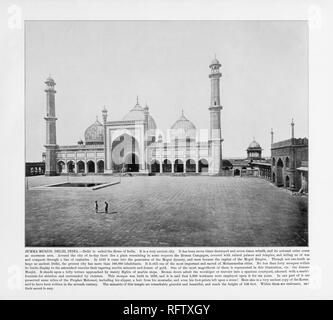 Jumma Musjid, Delhi, India, Antique India Photograph, 1893 - Stock Photo