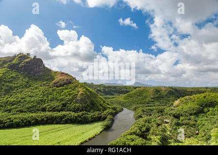 View of the beautiful Wailua River on Kauai, Hawaii - Stock Photo