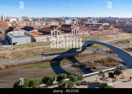 General view of El Matadero, a cultural center located in Madrid city, Spain. It is a former slaughterhouse in the Arganzuela district - Stock Photo