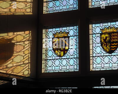 Stained glass Coat of arms in the Great Hall Edinburgh Castle - Edinburgh - Scotland - Stock Photo