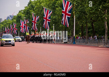 The Household Cavalry on the Mall in London, England UK - Stock Photo