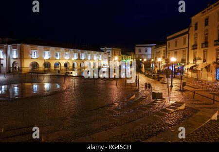 Tavira, Portugal. Praça da República, town centre, with its town hall, in the fishing town, Tavira, Algarve, Portugal, Europe. - Stock Photo