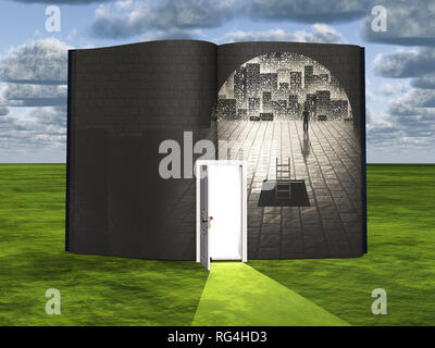 Surrealism. Book with opened door and figure of man in stone tunnel. - Stock Photo