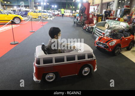 January 27, 2019 - 27 january 2019 (Malaga) The Retro Auto & Moto Malaga exhibition, the Vintage Vehicle Show, was held on January 25, 26 and 27, 2019 at the Trade Fair and Congress Center of Malaga.One more year, all lovers of classic and collector vehicles from the south of the country. Special stands stand out for Alpine, Vespino and super sports motorcycles from the 80s and 90s, as well as the tributes to the Seat 1430, OSSA and Mini. Credit: Lorenzo Carnero/ZUMA Wire/Alamy Live News - Stock Photo