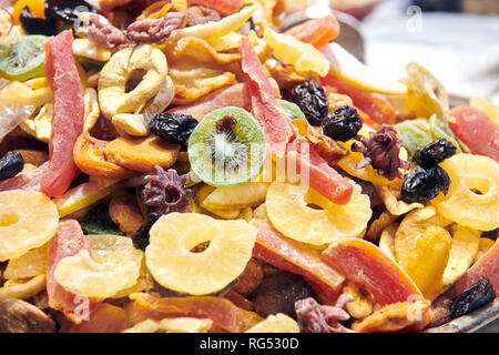 Berlin, Germany. 18th Jan, 2019. Dried fruits lie on a plate during the Green Week. Credit: Annette Riedl/dpa-Zentralbild/ZB/dpa/Alamy Live News - Stock Photo