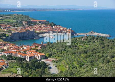 France Collioure beautiful Mediterranean village on the sea shore, Roussillon, Pyrenees Orientales - Stock Photo