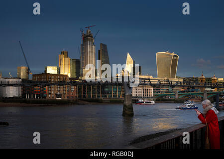Setting sun on the City in London, England - Stock Photo