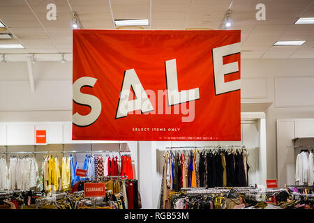 June 5, 2018 Milpitas / CA / USA - The sale section of a clothes store in south San Francisco bay area - Stock Photo