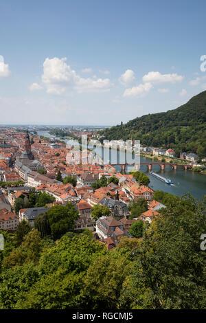 Germany, Baden-Wuerttemberg, Heidelberg, Neckar river, City view with Charles-Theodore-Bridge - Stock Photo