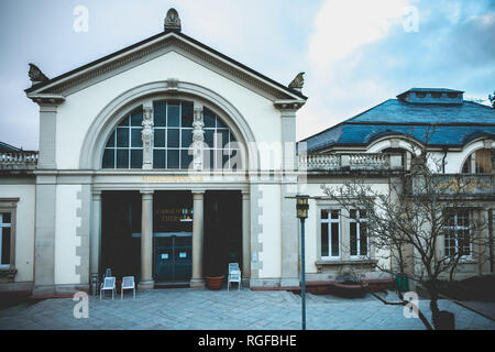 Badenweiler, Germany - December 24, 2017: Architecture detail of the Cassiopeia baths, symbol of the city on a winter day - Stock Photo