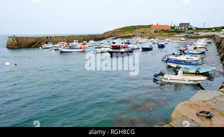 Port Levi, close to Cap Levi, in Fermanville. Fishing and recreational boats in the harbor. Fermanville, Manche, Basse-Normandie, France - Stock Photo