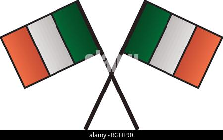 crossed irish flags on white background - Stock Photo