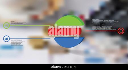 3D illustration infographic template. The embossed ring is divided to three color shifted parts. Object is arranged on blurred photo background. Color - Stock Photo