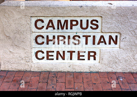 Campus Christian Center wall sign on the University of Arizona Campus in Tucson AZ - Stock Photo