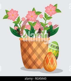 easter eggs decoration with flowers inside basket - Stock Photo