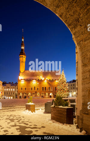 Winter evening at the town hall square in Tallinn, Estonia. - Stock Photo