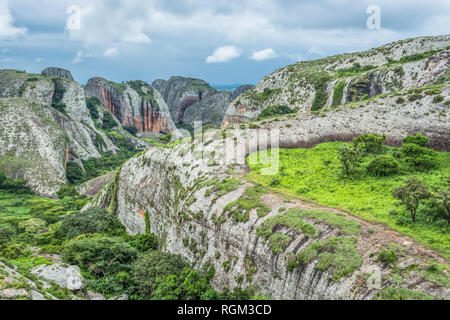View at the mountains Pungo Andongo, Pedras Negras (black stones), huge geologic rock elements, in Malange, Angola - Stock Photo