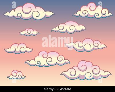Rainbow Japanese or Chinese swirl curly style clouds in the sky background, isolated on white background, vector clip art illustration. - Stock Photo