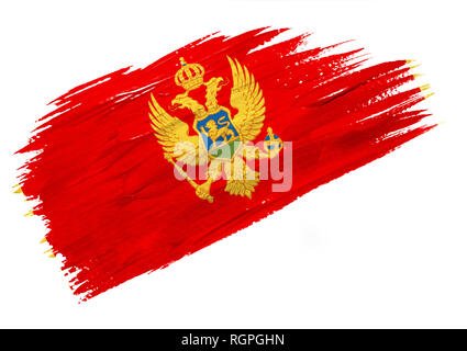 Brush painted Montenegro flag. Hand drawn style illustration - Stock Photo