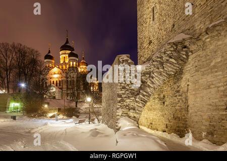 Winter night at Tallinn city walls, Estonia. - Stock Photo