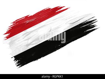 Brush painted Yemen flag. Hand drawn style illustration - Stock Photo
