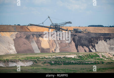 brown coal opencast mining Garzweiler, Grevenbroich, North Rhine-Westphalia, Germany, Europe - Stock Photo