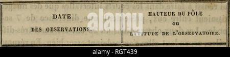 """. Bulletin de l'Académie Royale des Sciences, des Lettres et des Beaux-Arts de Belgique. ( 270 ) Latitude déduite des passages supérieurs et inférieurs de la polaire.. 16 avril 17 » 35 » 26 » 28 V 13 mai . 14 » 15 >i 16 1. 17 » 20 » 26 « 29 )> .50û 51' 9""""45 ,> ,. 10.46 » « 10.11 îi )) 9.93 )) « 10.12 1) 11 11.30 1) » 10.96 .. » 10.56 11 11 10.83 Il 11 10.76 Il 11 12.00 11 11 11.18 11 11 11.40 60"""" 51' 10-69 » Les résultats de ce tableau sont indépendans des er- reurs des tables, et l'on peut voir que les valeurs indivi- duelles s'accordent entre elles d'une manière satisfaisa - Stock Photo"""