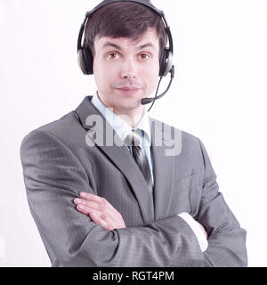 closeup.portrait of an employee call center. isolated on white - Stock Photo
