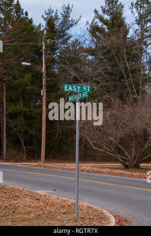 Green street sign with white letters that says, 'Easy Street' - Stock Photo
