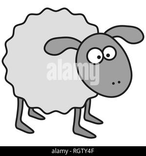 Sheep in cartoon style. On white background,  illustration - Stock Photo