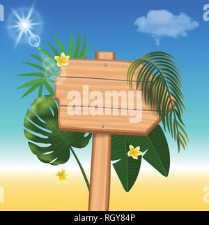 Summer time holiday realistic background. Vector illustration - Stock Photo