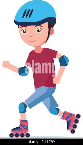The boy rides on roller skates - Stock Photo