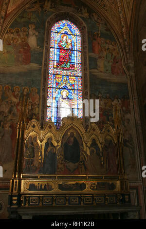 Italy, Florence - April 02 2017: the view of the explanation info of Strozzi di Mantova Chapel of Santa Maria Novella Church on April 02 2017, Tuscany - Stock Photo