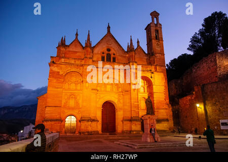 Real Colegiata church Santa María la Mayor at dusk. Old town monumental city of Antequera, Malaga province. Andalusia, Southern Spain. Europe - Stock Photo