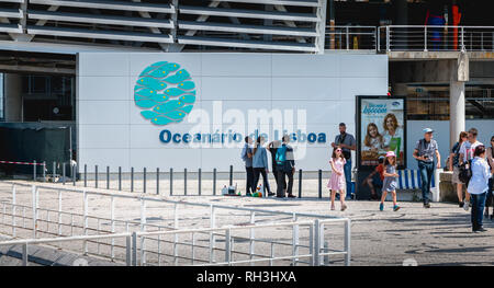 Lisbon, Portugal - May 7, 2018: people walking next to the Oceanarium of Lisbon a spring day. It is located in the Parc des Nations, a district create - Stock Photo