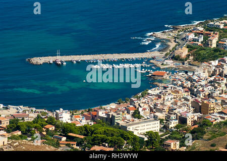 Aerial view of Sferracavallo harbor and town from the top of Pizzo Manolfo in Palermo, Sicily, Italy. - Stock Photo