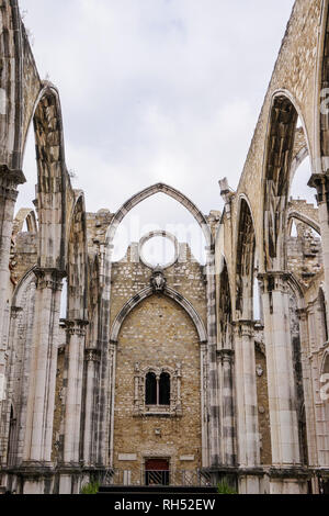 Lisbon, Portugal Carmo Convent Church ruins.View of main nave ruins and arches of The Convent of Our Lady of Mount Carmel, Convento da Ordem do Carmo. - Stock Photo