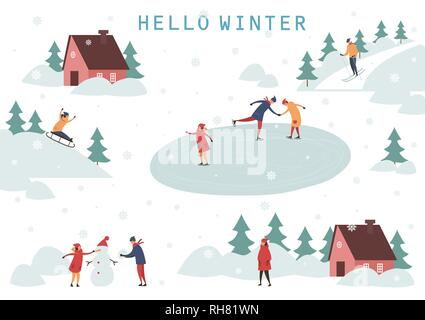 People skiing and making snowman - Stock Photo