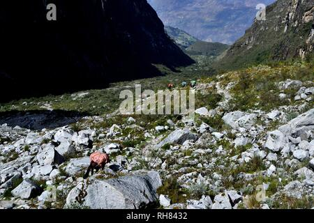 Transporting ice in the glacier cirque of Huandoy peak - National park HUASCARAN. Department of Ancash.PERU                                            - Stock Photo