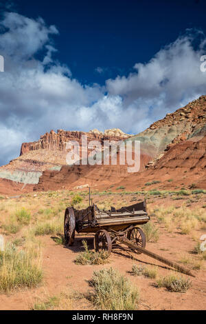 this wagon is one of few relicts from the first white settlers which arrived in the area - Stock Photo