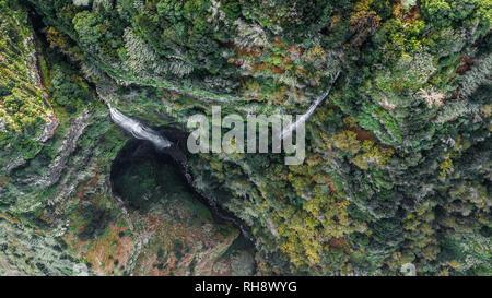 Aerial view of natural reserve of 'Rocha do Navio' at Santana, Madeira island, Portugal. - Stock Photo