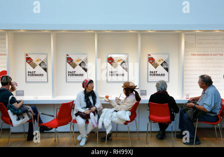 Visitors relaxing in the cafe of Kenneth and Anne Griffen Court in the Modern Wing of the Art Institute Chicago designed by Renzo Piano.Chicago.IL.USA - Stock Photo