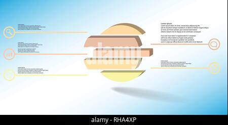 3D illustration infographic template. The embossed ring is divided to five color shifted parts. Object is arranged on blue white background. Color lin - Stock Photo