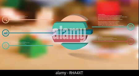 3D illustration infographic template. The embossed ring is divided to five color shifted parts. Object is arranged on blurred photo background. Color  - Stock Photo