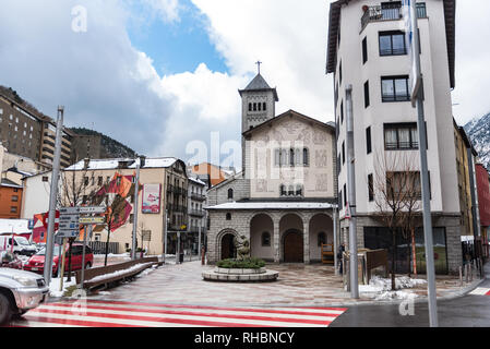 ESCALDES-ENGORDANY, ANDORRA - February 1: Church of Sant Pere Martir in small town Escaldes-Engordany in Andorra on January 16, 2013. - Stock Photo