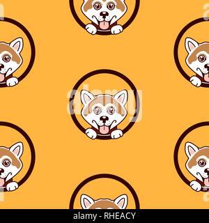 Shiba inu dog pattern vector background. - Stock Photo