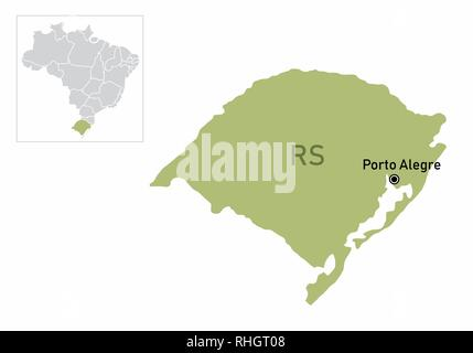 Illustration of the Rio Grande do Sul State and its location in Brazil map - Stock Photo